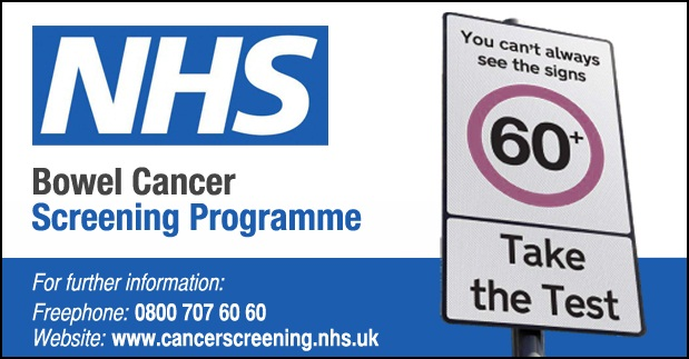 NHS Bowel Cancer Screening Programme. You can't always see the signs. Take the Test. For further information freephone 0800 707 60 60 www.cancerscreening.nhs.uk